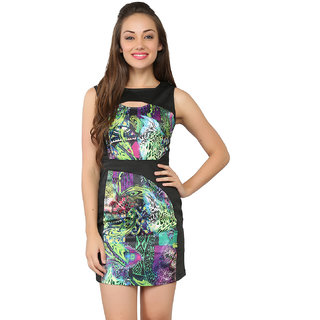 Tong Multicolor Dress Satin  Cotton Lycra For Women