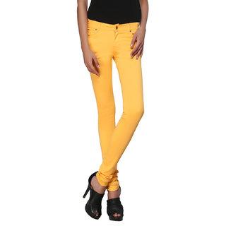 Zedon Yellow Cotton Slim Fit Casual Trouser