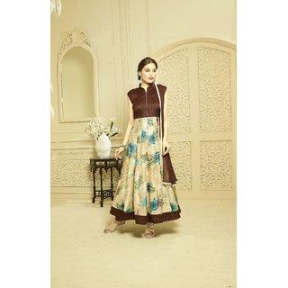 Thankar Brown And Multy Printed Bhagalpuri Print Anarkali Suit