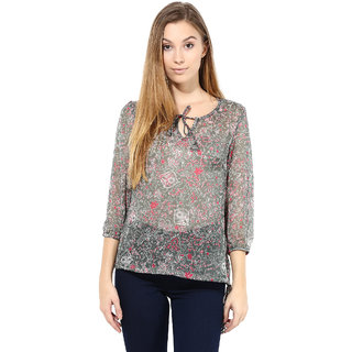 The Gud Look Grey Chiffon Round Neck Printed Top