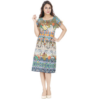 6118b8a68ad Buy Svt Ada Collections Multi Cotton Printed A-line Midi Dress Online - Get  48% Off