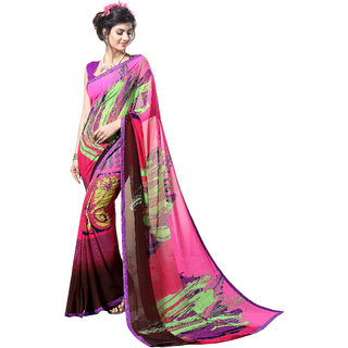 Khushali Fashion Multicolor Georgette Printed Saree With Blouse