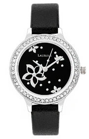 Laurels Floral Analog Black Dial Womens Watch - LL-Fl-101