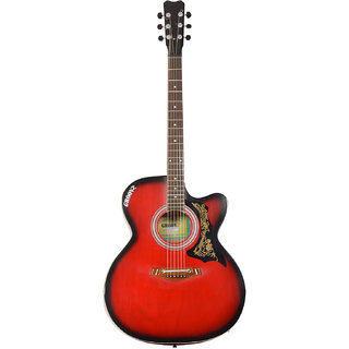 Groovz 6-Strings Spanish Acoustic Guitar, Right Handed, Red and Black, Without Case, Venus-265-RedBlack by Groovz