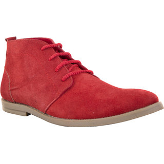 Chex MenS Red Suede Leather Casual Lace-Up Shoes (CHX13002RDA)