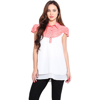 Ceylin White Georgette Solid Shirt Collar Casual Top