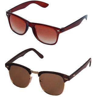 3ecc24cd55 Buy Magjons Brown Wayfarer Clubmaster Sunglasses Combo Of 2 With Box ...
