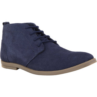 Chex MenS Blue Suede Leather Casual Lace-Up Shoes (CHX13002BLUA)