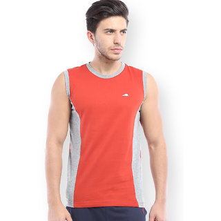 2Go Active Gear Usa B Orange/Grey Mel 100 Combed Cotton Vest