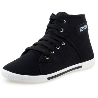 Chevit MenS Black Sneakers Lace-Up Shoes (Boxer-BK-CVT)