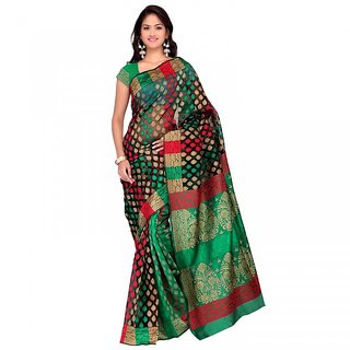 Sareemall Multicolor Tussar Silk Printed Saree With Blouse