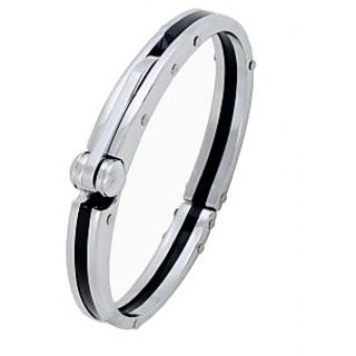 The Jewelbox Mens Boys Black Silver 316L Stainless Steel Oval Super Fit Macho Kada Bracelet