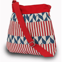 Pick Pocket Red And Blue Canvas Sling Bag
