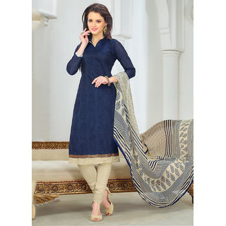 Sareemall Blue Chanderi Embroidered Salwar Suit Dress Material