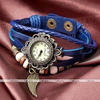 new Leather Women's Watch Bracelet Ladies Watch - Blue