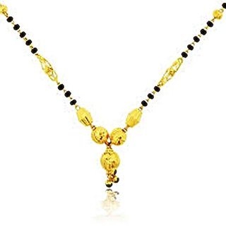GoldenBlack Brass  Copper Gold Plated Only Mangalsutra For Women