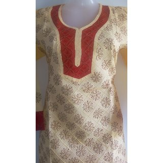 Lucknow Chikan Handmade Embroidery Party Wear Cotton Kurti