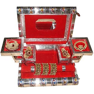 Phoenix International Jewellery Box, Jewelary box, Jewellary box, Jewelary Vanity box in White Metal good for personnel use and Gift (Red)