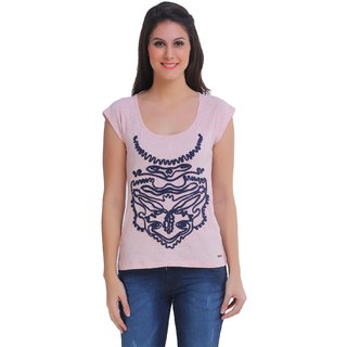 Meish Pink Cotton Solid Casual Top