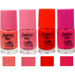 Fashion Bar 15 34 551 29 Nail Polish Combo,Multi Color,20Ml,Pack Of 4