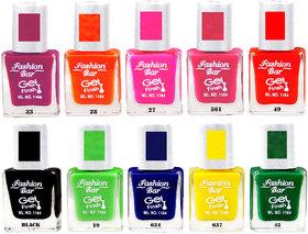 Fashion Bar Sc Combo 2 Nail Polish Combo,Multi Color,95Ml,Pack Of 10
