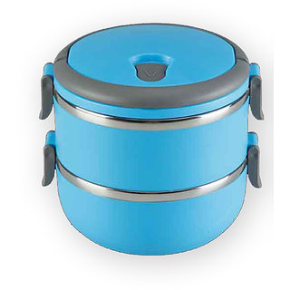 High Grade Stainless Steel Keep Warm 2 Layer 1.4l Lunch box / Tiffin box  Blue