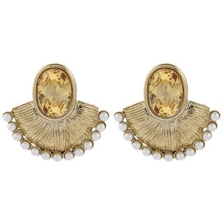 The Jewelbox Faceted Golden Stone Pearl Gold Plated Designer Earring