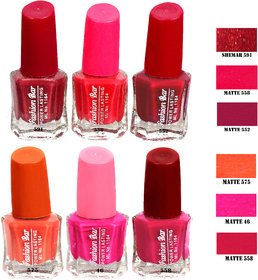 Fashion Bar Fbnp 1 In 18 Nail Polish Combo,Multi Color,30Ml,Pack Of 6