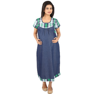 MomToBe Blue  Green Maternity Dress