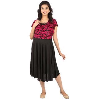 MomToBe Black  Pink Flower print Maternity Dress