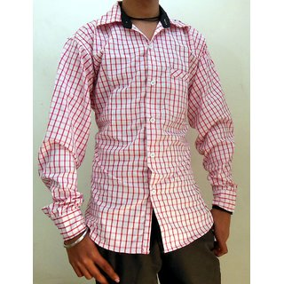 Men's Casual Shirts White & Red