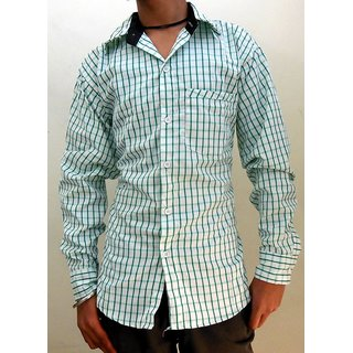 Men's Casual Shirts White & Green