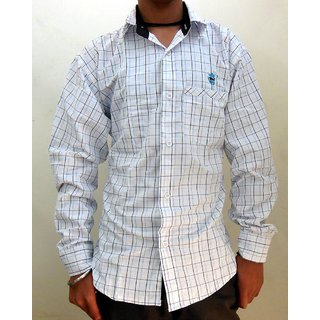 Men's Casual Shirts White with Blue  Black Lines