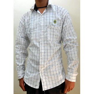 Men's Casual Shirts White with Yellow & Black Lines
