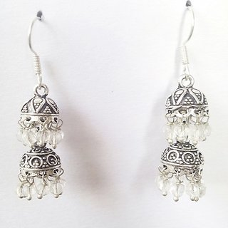 9db0d5d22ee White Oxidized Silver Plated Double Jhumka Earring