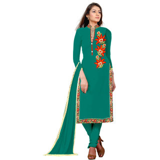 Khoobee Presents Embroidered Georgette Dress Material(Rama Green)