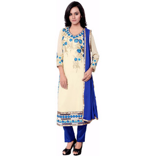 Khoobee Presents Embroidered Georgette Dress Material (Beige,Blue)
