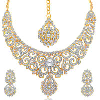 Sukkhi Attractive Gold Plated AD Necklace Set For Women