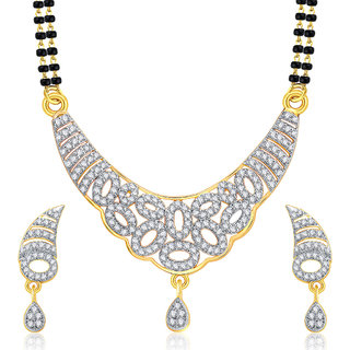 Sukkhi Exotic Gold And Rhodium Plated CZ Mangalasutra Set For Women