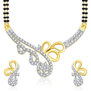 Sukkhi Tantalizing Gold And Rhodium Plated CZ Mangalasutra Set For Women