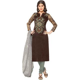 Khoobee Presents Embroidered Bhagalpuri Dress Material (Dark Brown,Light Grey)