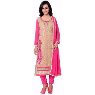 Khoobee Presents Embroidered Georgette Dress Material (Beige,Rani)