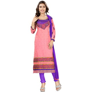 Khoobee Presents Embroidered Cotton Dress Material(Light Pink,Violet)
