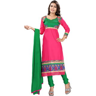 Khoobee Presents Embroidered Cotton Dress Material(Dark Pink,Green)
