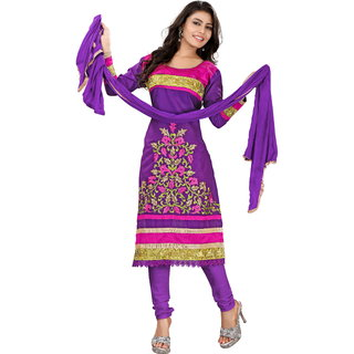 Khoobee Presents Embroidered Cotton Dress Material(Purple)