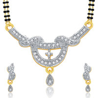 Sukkhi Lustrous Gold And Rhodium Plated CZ Mangalasutra Set For Women