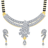Sukkhi Dainty Gold And Rhodium Plated CZ Mangalasutra Set For Women