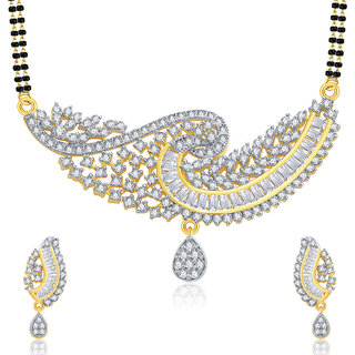 Sukkhi Gorgeous Gold And Rhodium Plated CZ Mangalasutra Set For Women