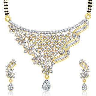 Sukkhi Cheerful Gold And Rhodium Plated CZ Mangalasutra Set For Women