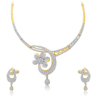 Sukkhi Enchanting Gold And Rhodium Plated CZ Neklace Set For Women